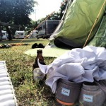 Suddenly: camping. (what)