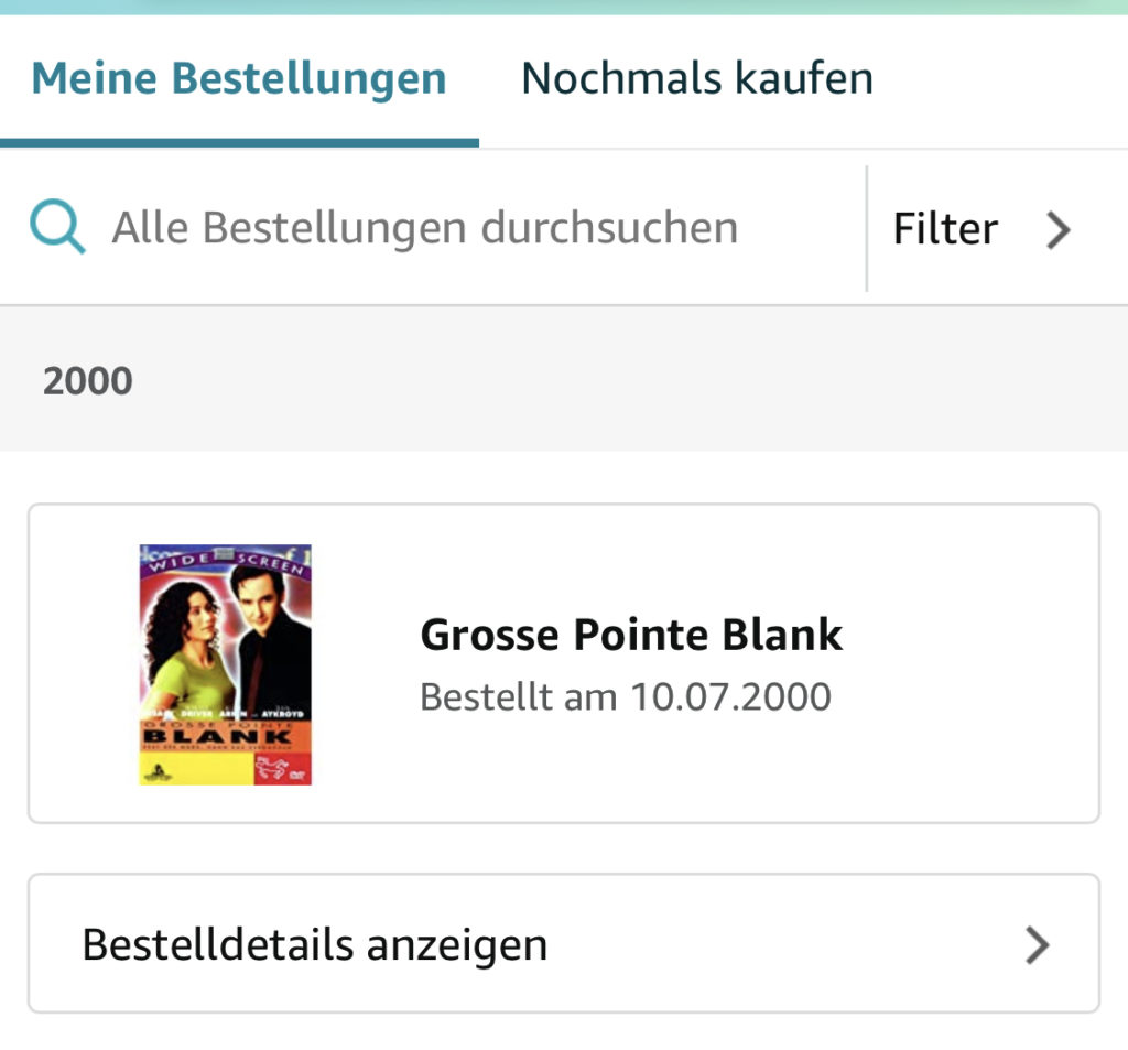 Grosse Pointe Blank, ordered on July 7th, 2000